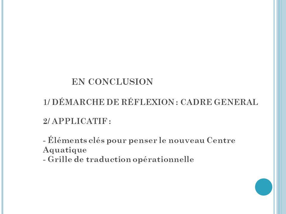 EN CONCLUSION 1/ DÉMARCHE DE RÉFLEXION : CADRE GENERAL 2/ APPLICATIF :