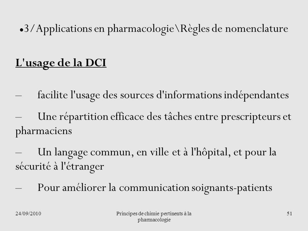3/Applications en pharmacologie\Règles de nomenclature