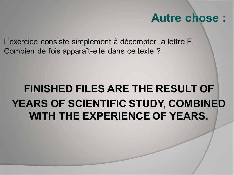 Autre chose : L'exercice consiste simplement à décompter la lettre F. Combien de fois apparaît-elle dans ce texte
