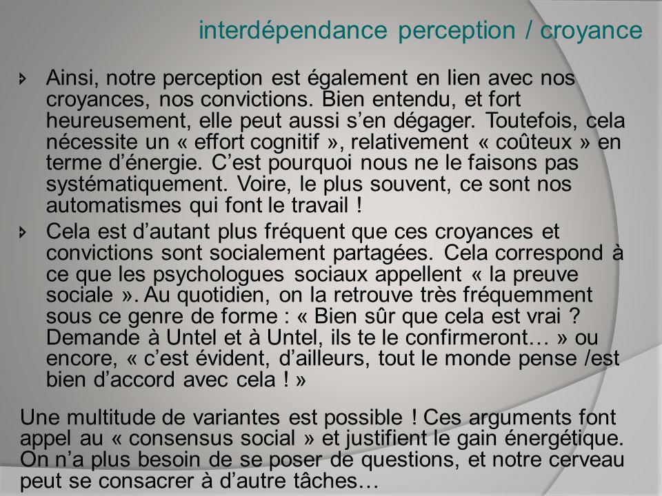 interdépendance perception / croyance