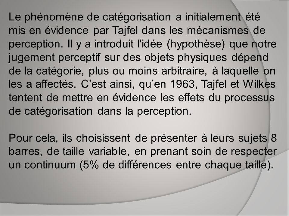 Le phénomène de catégorisation a initialement été mis en évidence par Tajfel dans les mécanismes de perception.