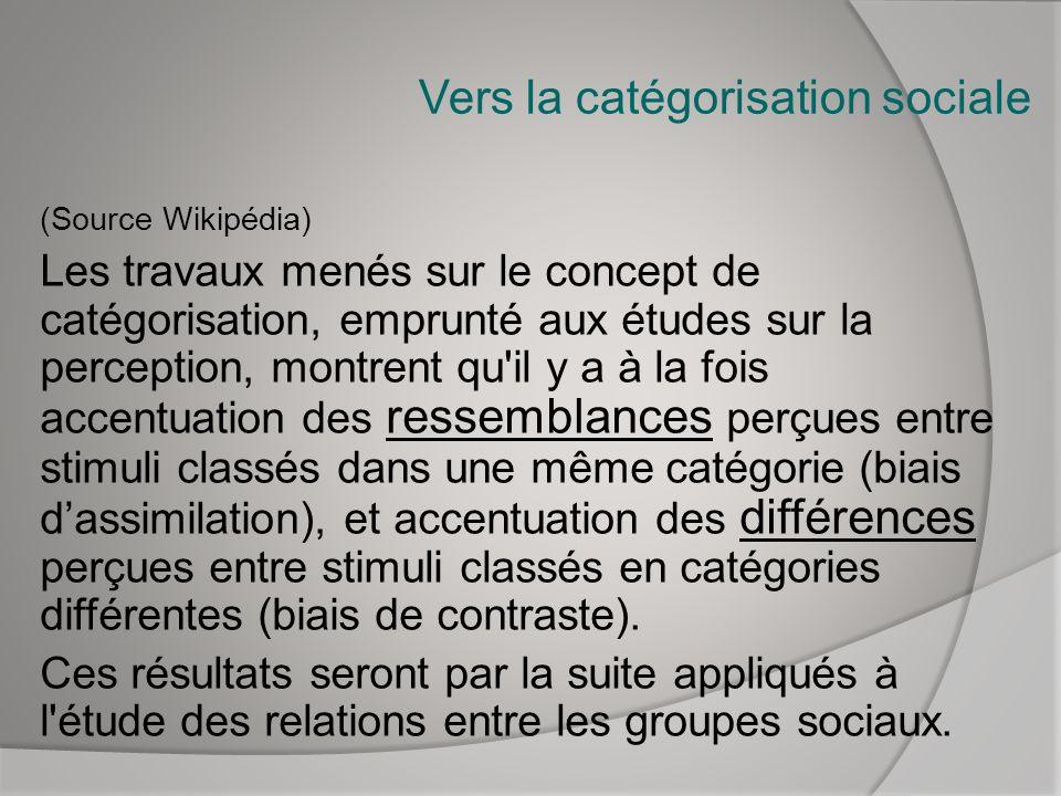 Vers la catégorisation sociale