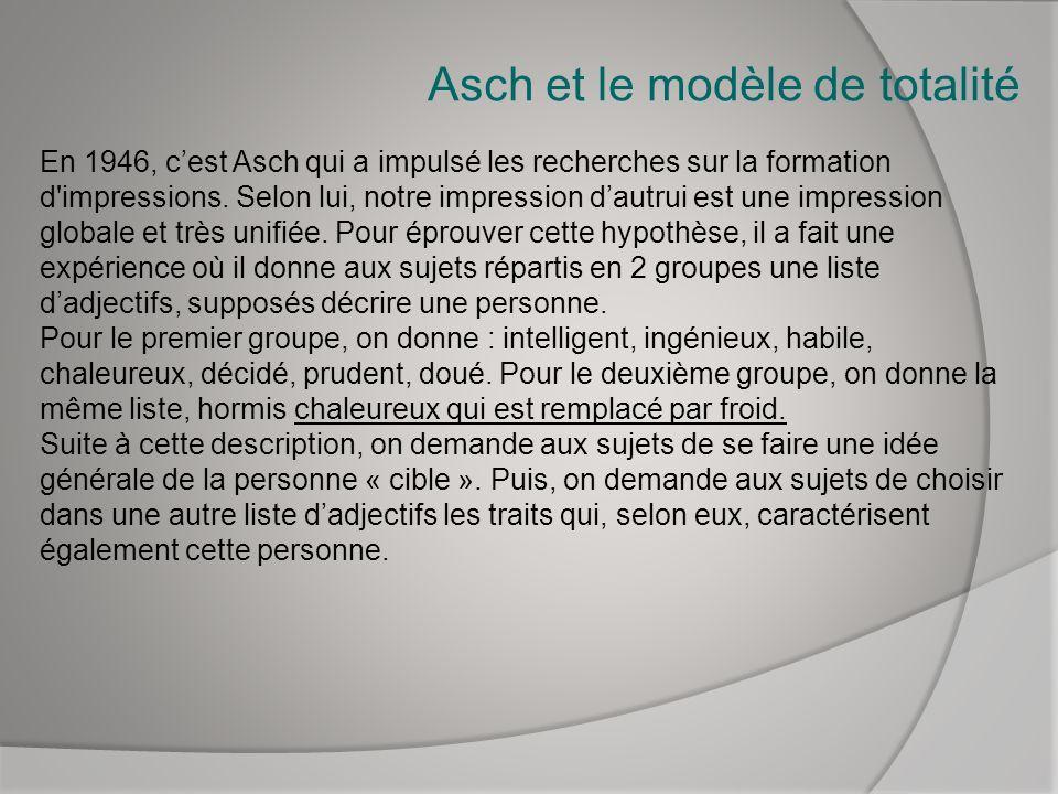 Asch et le modèle de totalité