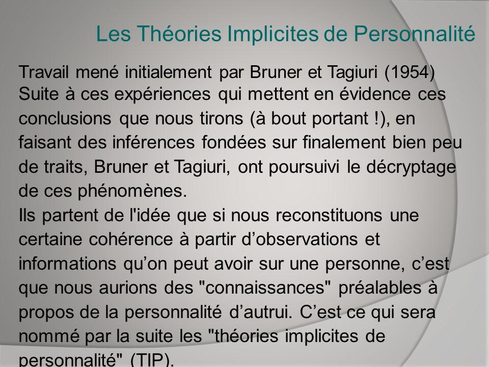 Les Théories Implicites de Personnalité