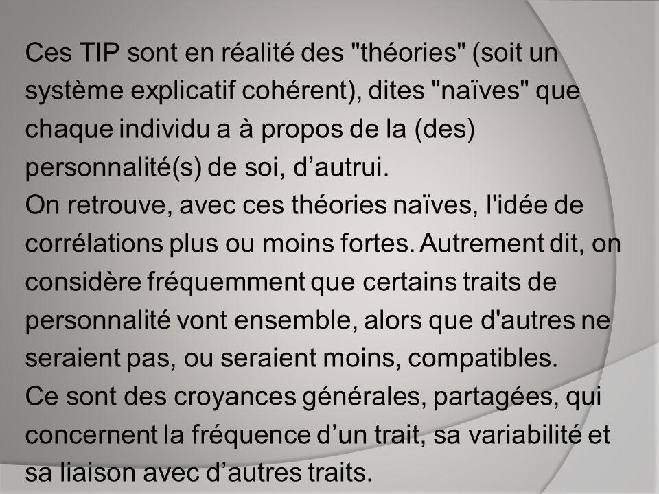 Ces TIP sont en réalité des théories (soit un système explicatif cohérent), dites naïves que chaque individu a à propos de la (des) personnalité(s) de soi, d'autrui.