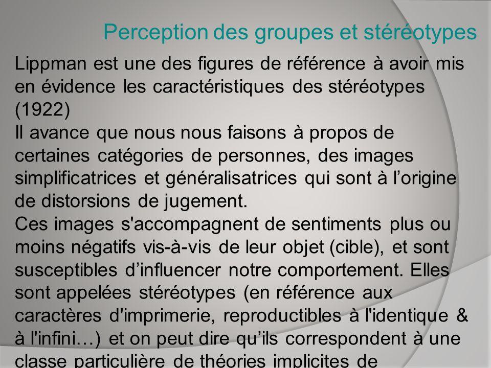 Perception des groupes et stéréotypes