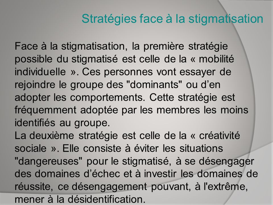 Stratégies face à la stigmatisation
