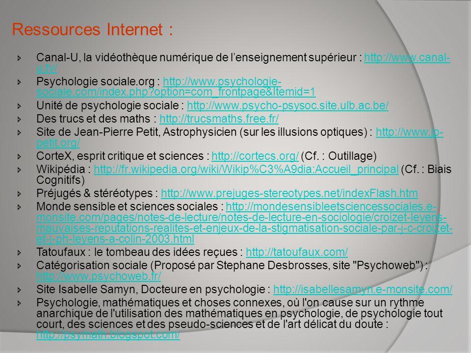 Ressources Internet : Canal-U, la vidéothèque numérique de l'enseignement supérieur : http://www.canal-u.tv/