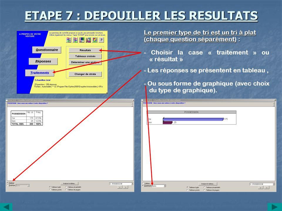 ETAPE 7 : DEPOUILLER LES RESULTATS