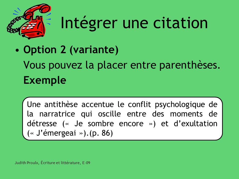 Intégrer une citation Option 2 (variante)