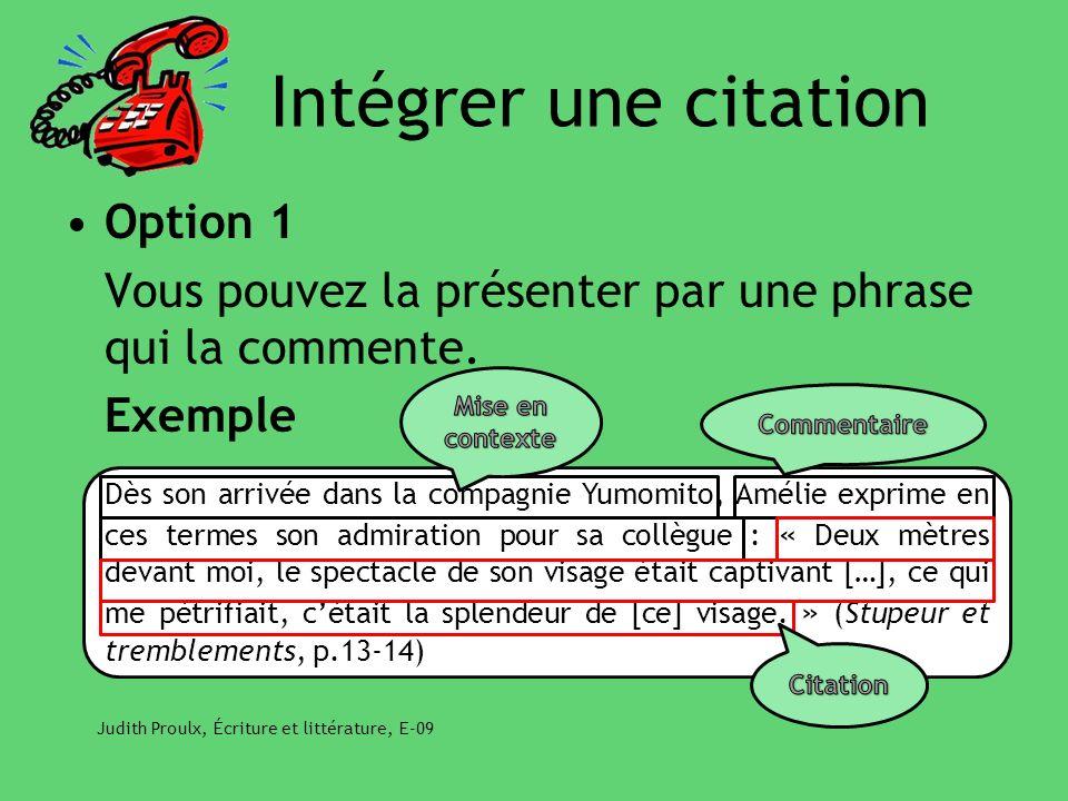 Intégrer une citation Option 1