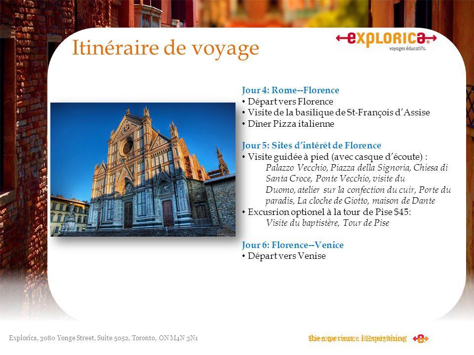 Itinéraire de voyage Jour 4: Rome--Florence Départ vers Florence