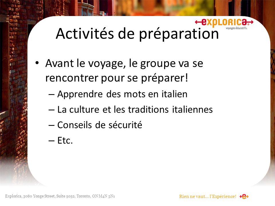 Activités de préparation