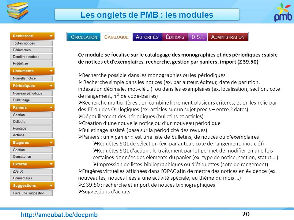 Les onglets de PMB : les modules