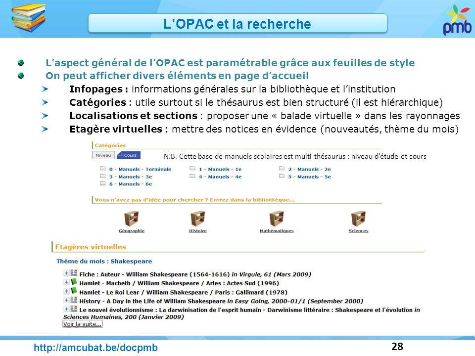 L'OPAC et la recherche http://amcubat.be/docpmb