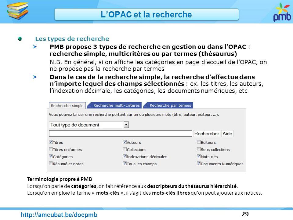 L'OPAC et la recherche http://amcubat.be/docpmb Les types de recherche