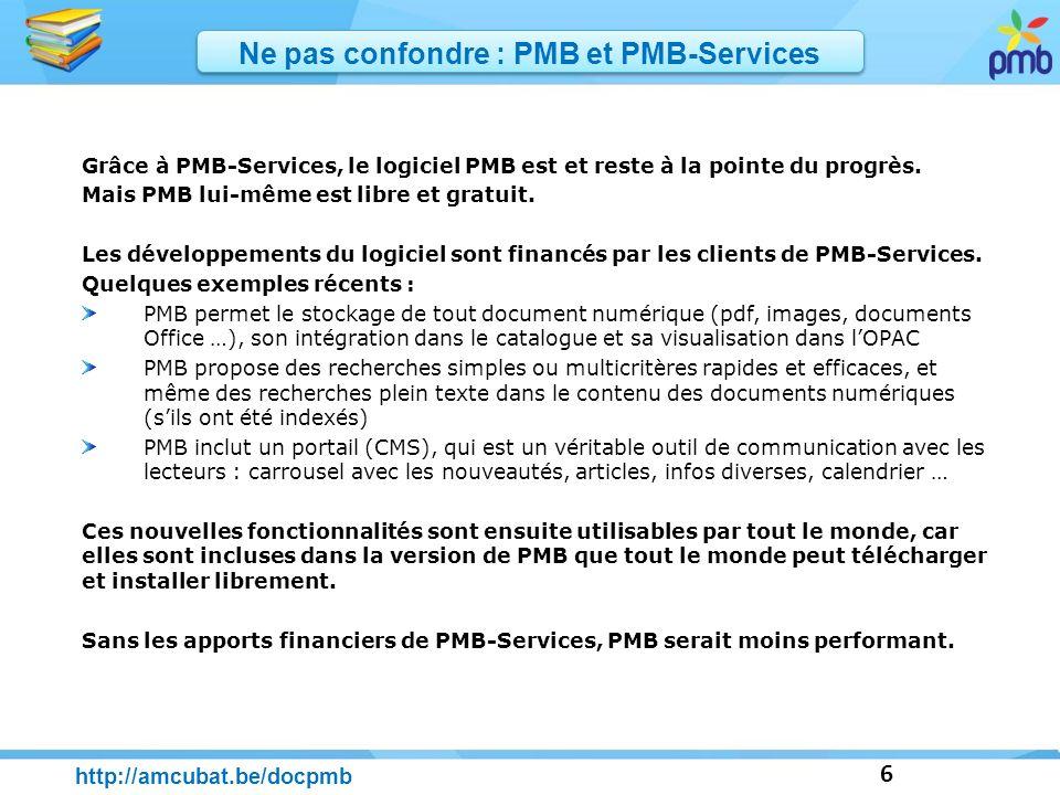 Ne pas confondre : PMB et PMB-Services