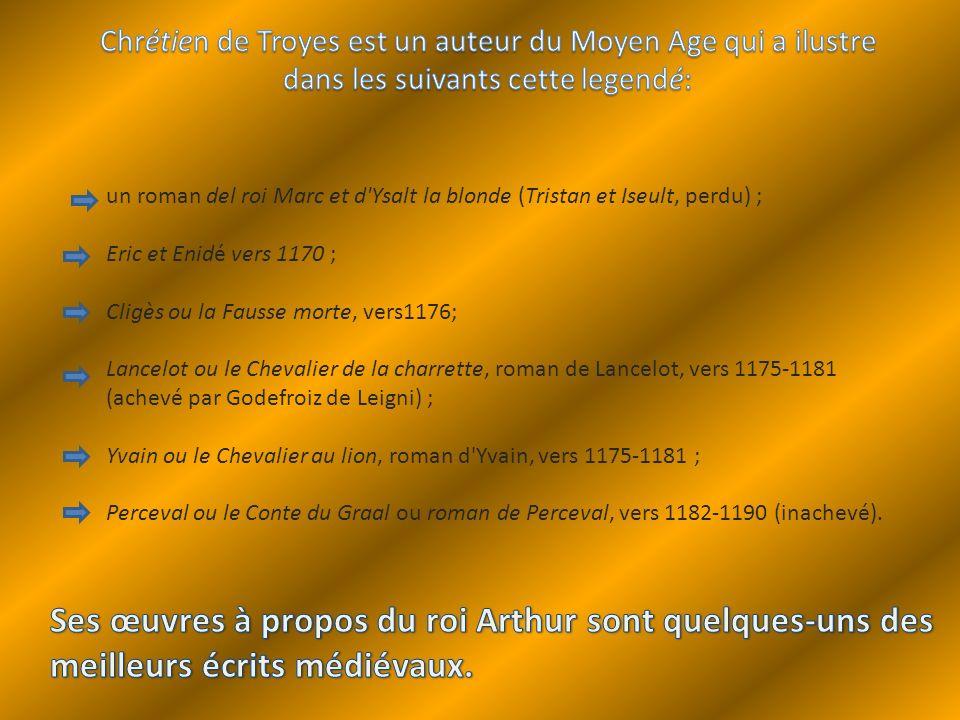 Chrétien de Troyes est un auteur du Moyen Age qui a ilustre dans les suivants cette legendé: