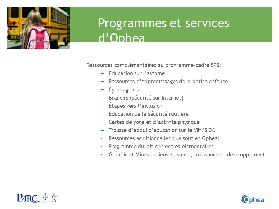 Programmes et services d'Ophea