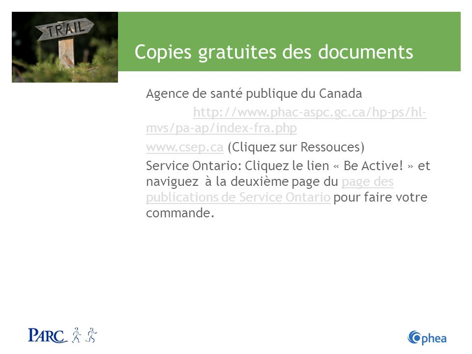 Copies gratuites des documents