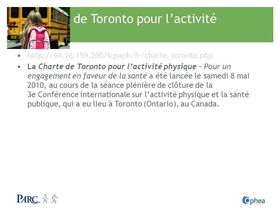La charte de Toronto pour l'activité physique