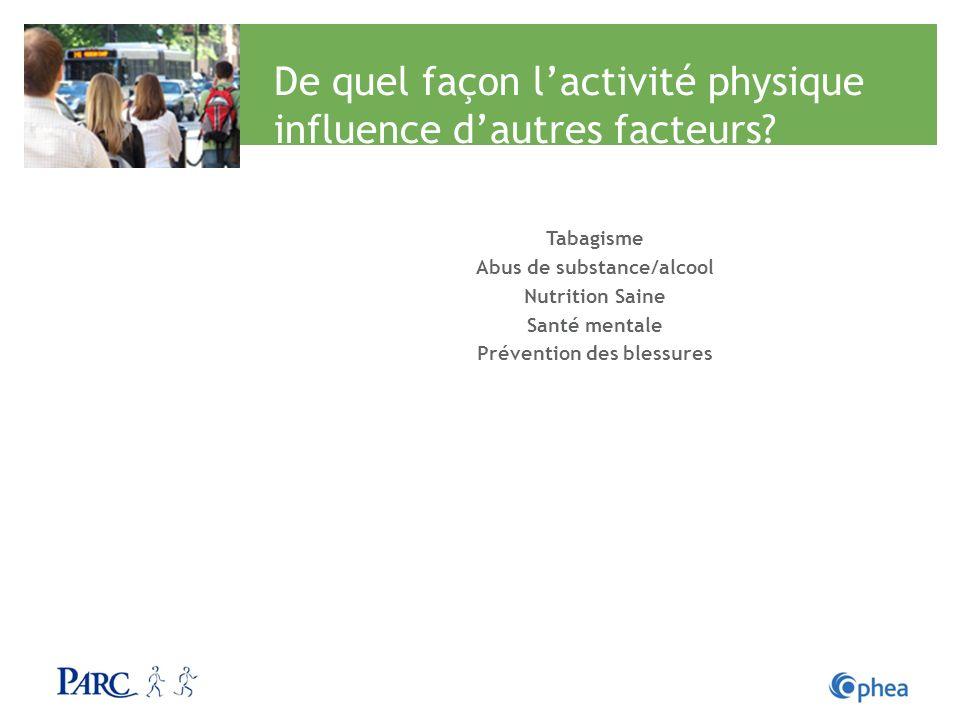 De quel façon l'activité physique influence d'autres facteurs