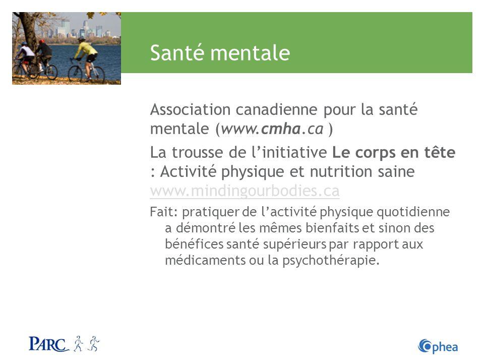 Santé mentale Association canadienne pour la santé mentale (www.cmha.ca )
