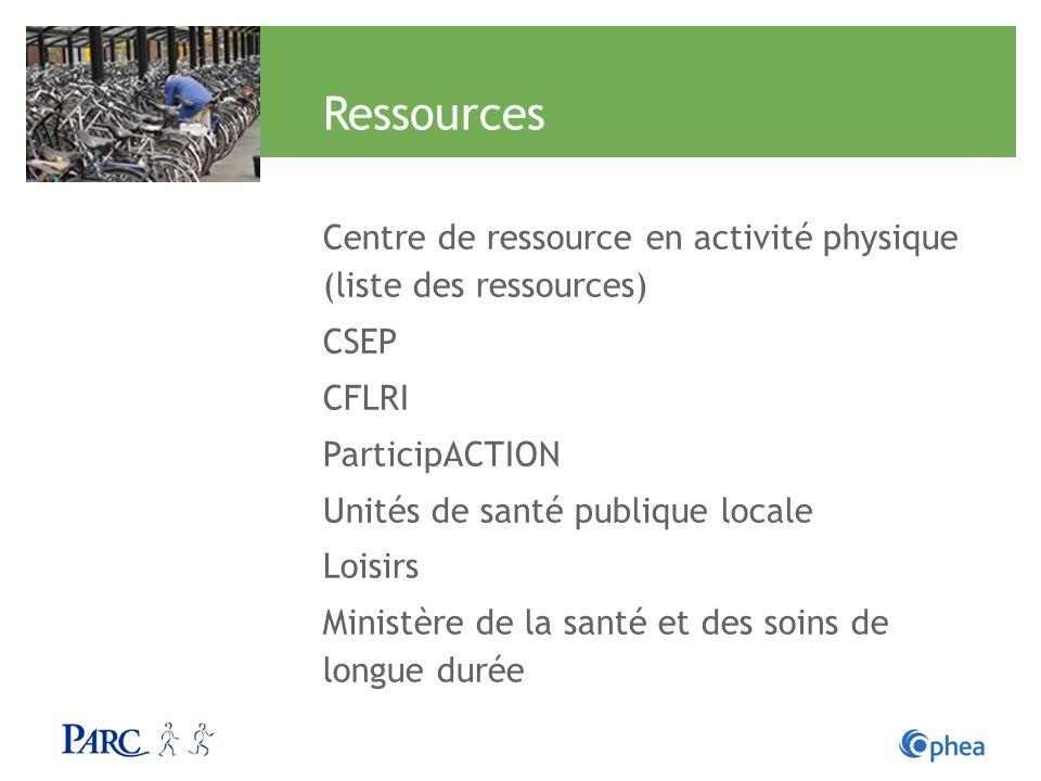Ressources Centre de ressource en activité physique (liste des ressources) CSEP. CFLRI. ParticipACTION.