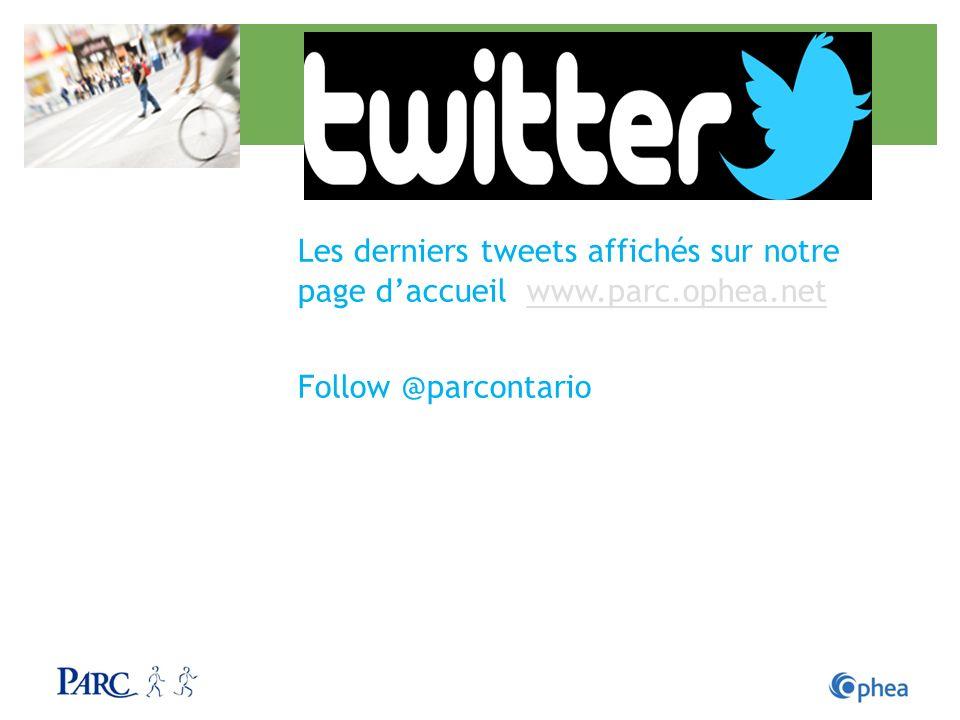 Les derniers tweets affichés sur notre page d'accueil www. parc. ophea