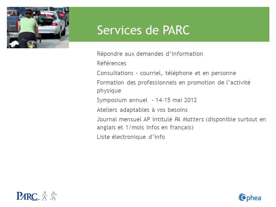 Services de PARC Répondre aux demandes d'information Références