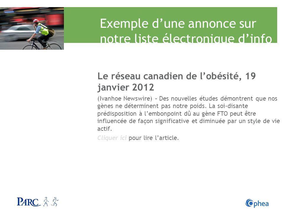 Exemple d'une annonce sur notre liste électronique d'info