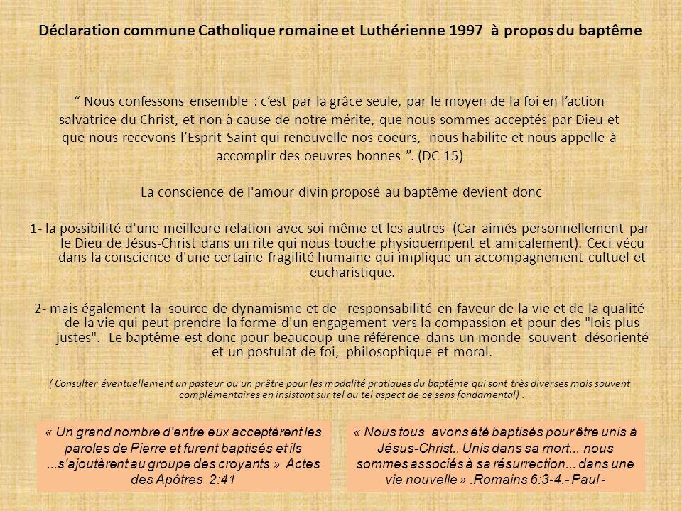 Déclaration commune Catholique romaine et Luthérienne 1997 à propos du baptême