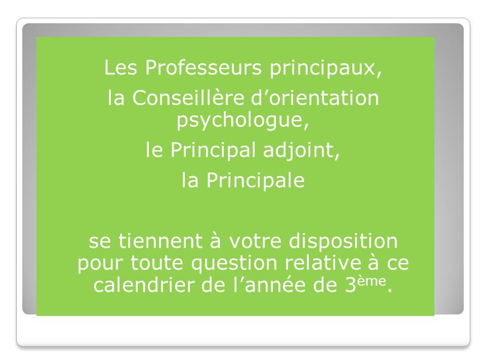 Les Professeurs principaux, la Conseillère d'orientation psychologue,