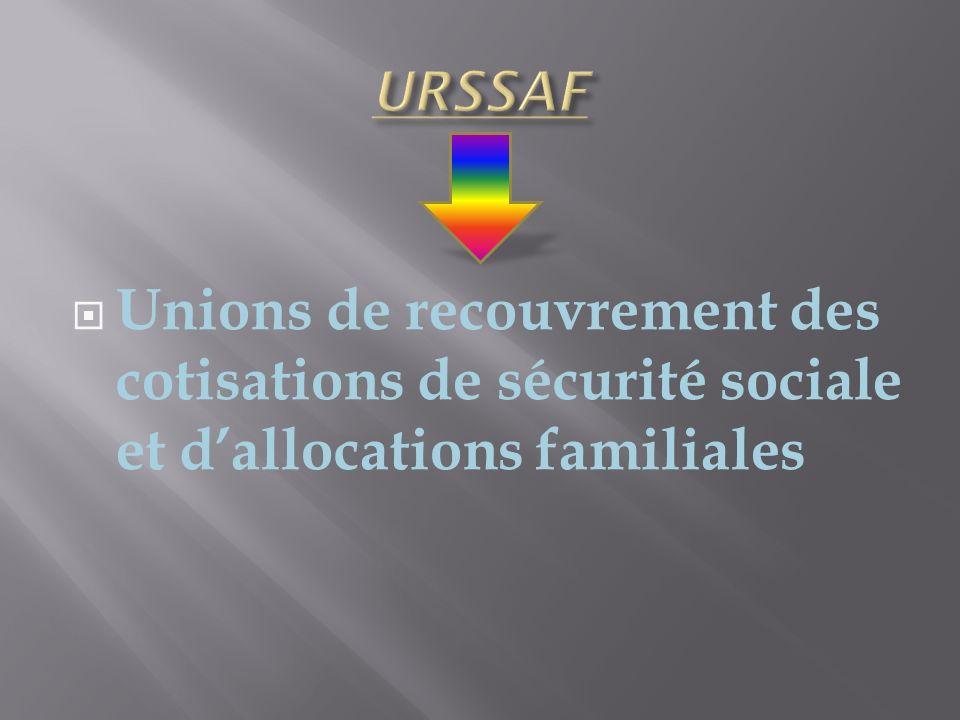 URSSAF Unions de recouvrement des cotisations de sécurité sociale et d'allocations familiales