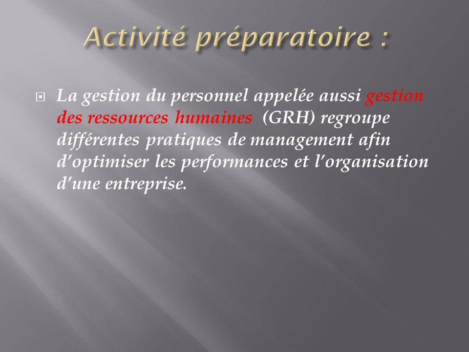 Activité préparatoire :
