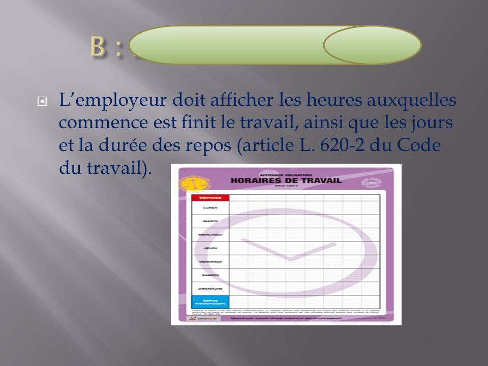 B : La durée du travail