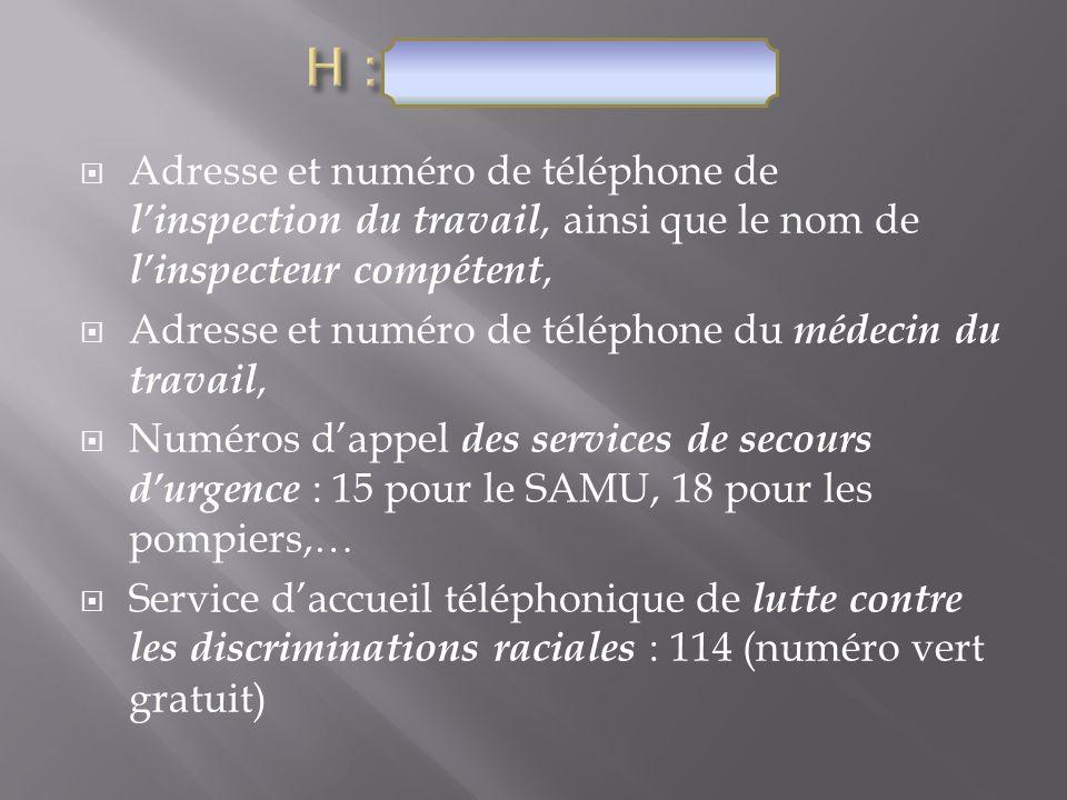H : Coordonnées Adresse et numéro de téléphone de l'inspection du travail, ainsi que le nom de l'inspecteur compétent,