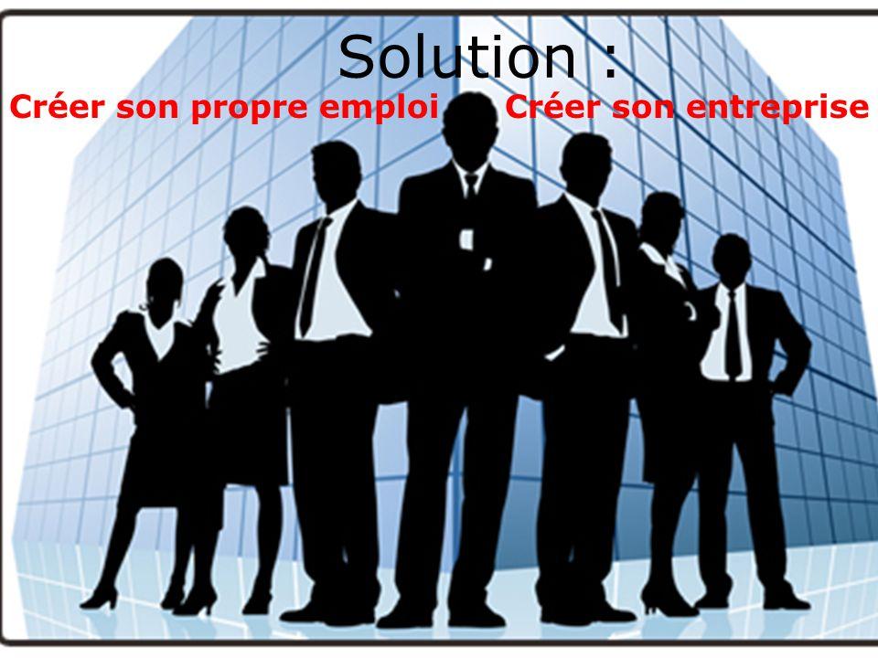 Solution : Créer son propre emploi Créer son entreprise
