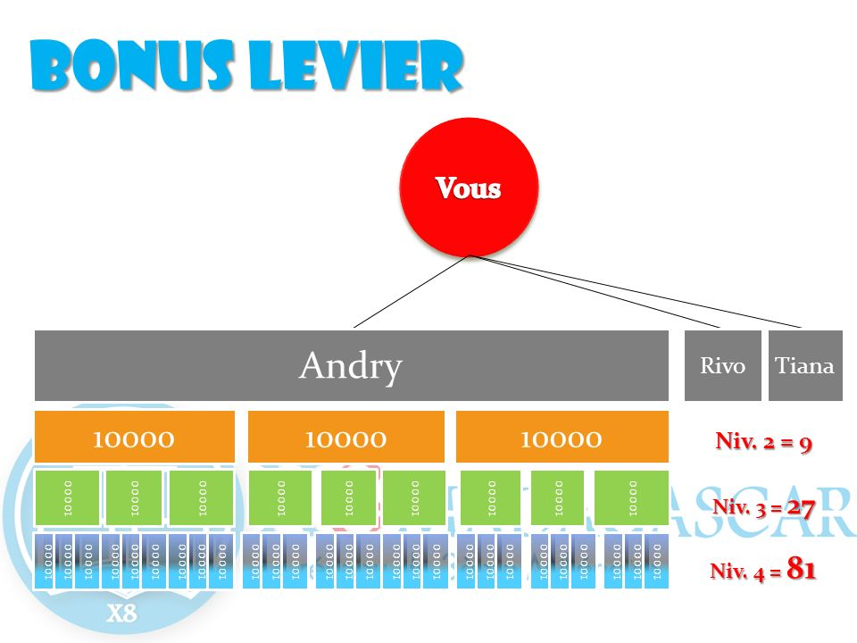 Bonus levier Andry 10000 Vous Rivo Tiana Niv. 2 = 9 Niv. 3 = 27
