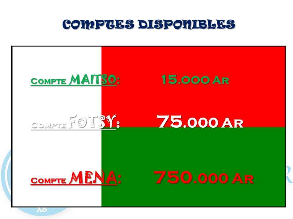 COMPTES DISPONIBLES Compte MAITSO: 15.OOO Ar Compte FOTSY: 75.000 Ar Compte MENA: 750.000 Ar
