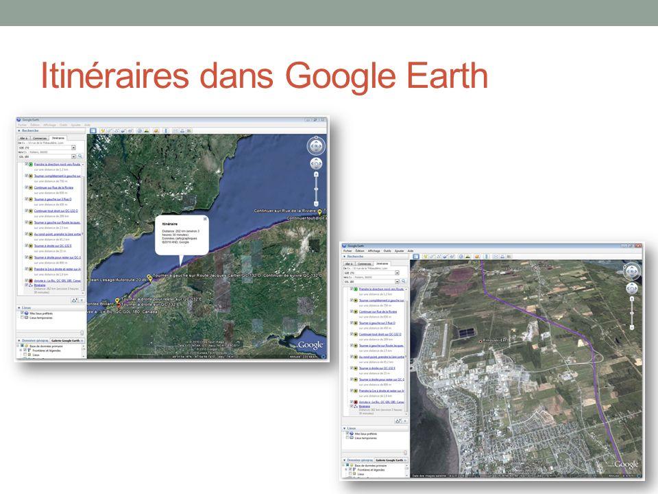 Itinéraires dans Google Earth