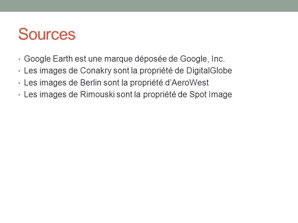 Sources Google Earth est une marque déposée de Google, Inc.