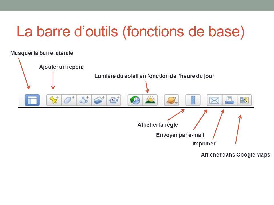 La barre d'outils (fonctions de base)