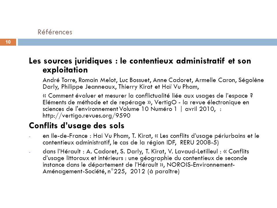 Références Les sources juridiques : le contentieux administratif et son exploitation.