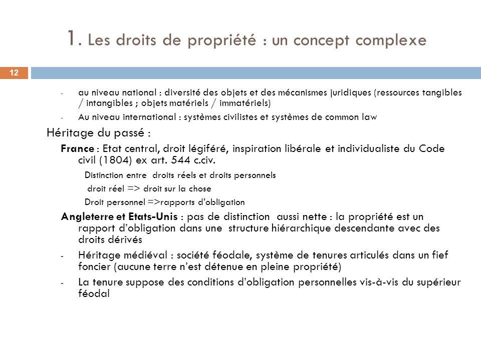 1. Les droits de propriété : un concept complexe