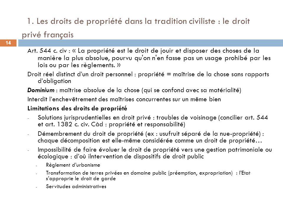 1. Les droits de propriété dans la tradition civiliste : le droit privé français