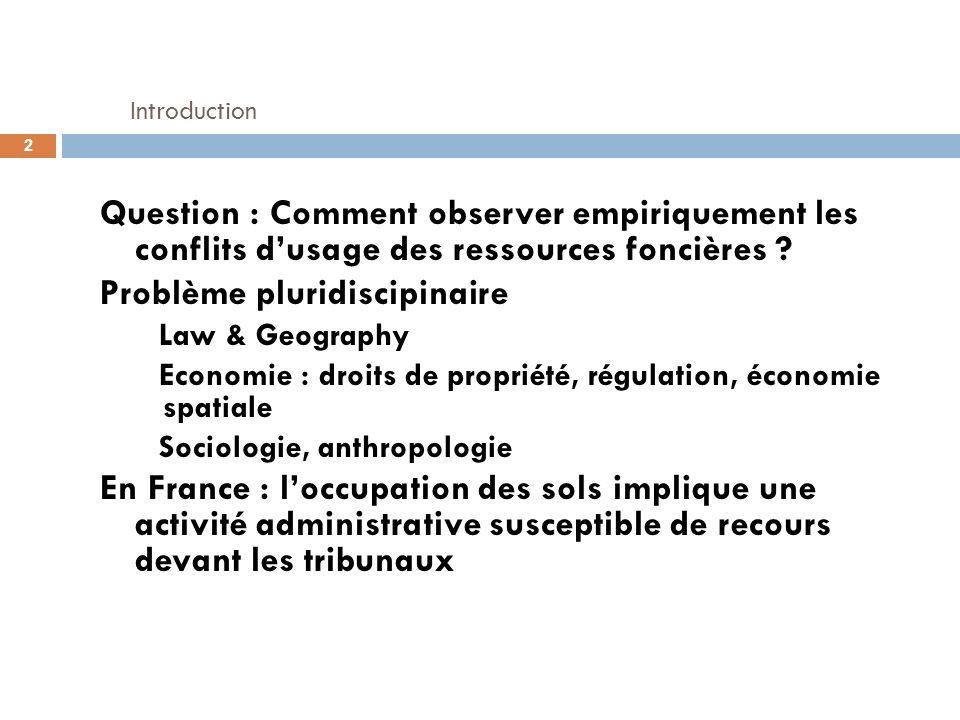 Introduction Question : Comment observer empiriquement les conflits d'usage des ressources foncières