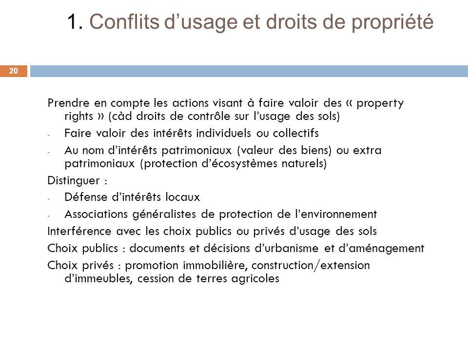 1. Conflits d'usage et droits de propriété