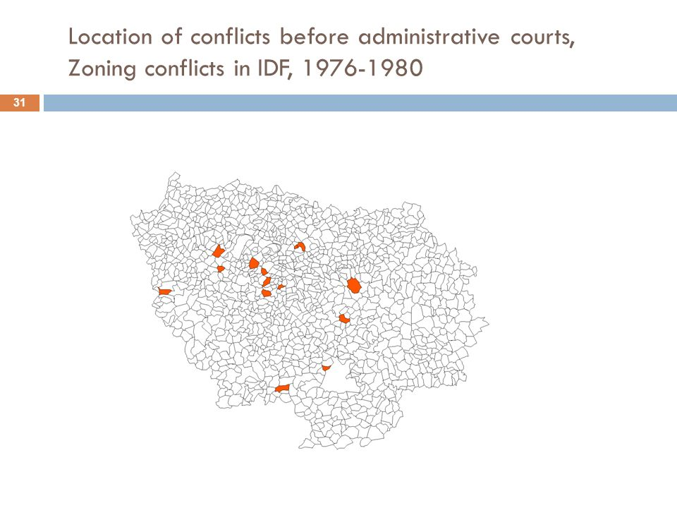 Location of conflicts before administrative courts, Zoning conflicts in IDF, 1976-1980