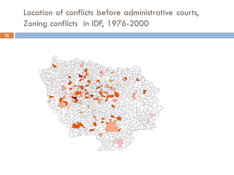 Location of conflicts before administrative courts, Zoning conflicts in IDF, 1976-2000